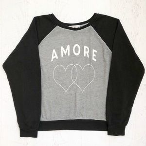 Wildfox Couture Black & Gray Amore Sweatshirt L